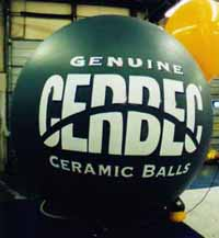 helium advertising balloon with lettering